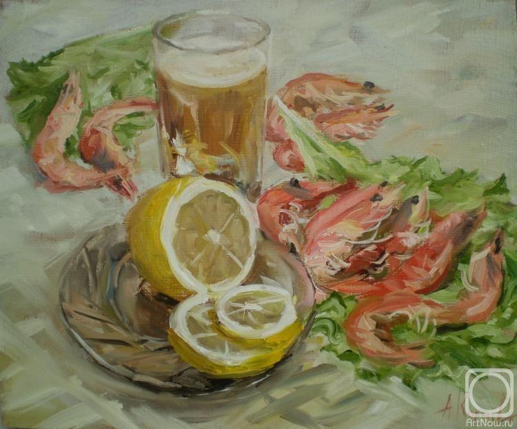 Креветки, пиво и лимон» картина Королева Андрея маслом на ...