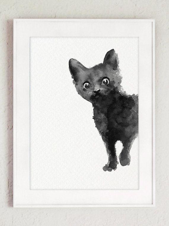 Black Cat Print Set 2 Watercolor Paintings Two Black Kitten Kitty