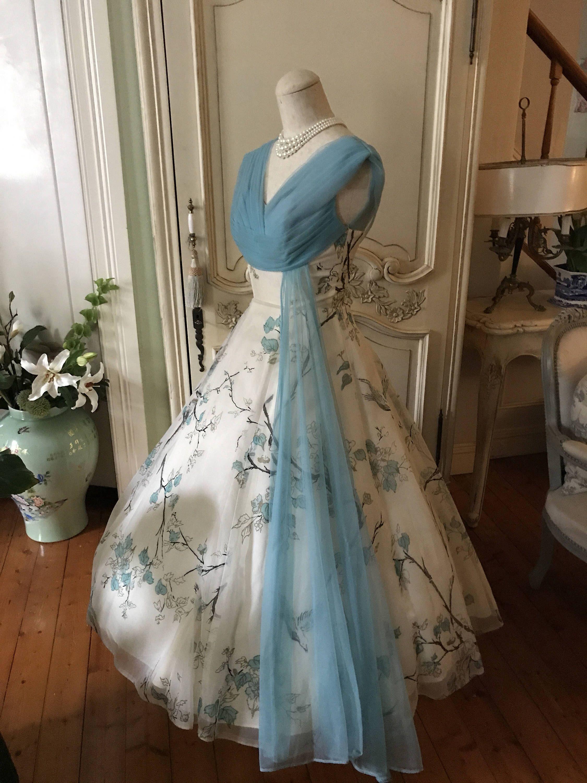 Reserved For K 1950s Vintage Wedding Dress Blue Swallow Etsy Vintage Wedding Dress 1950s Blue Wedding Dresses Vintage Gowns [ 3000 x 2250 Pixel ]