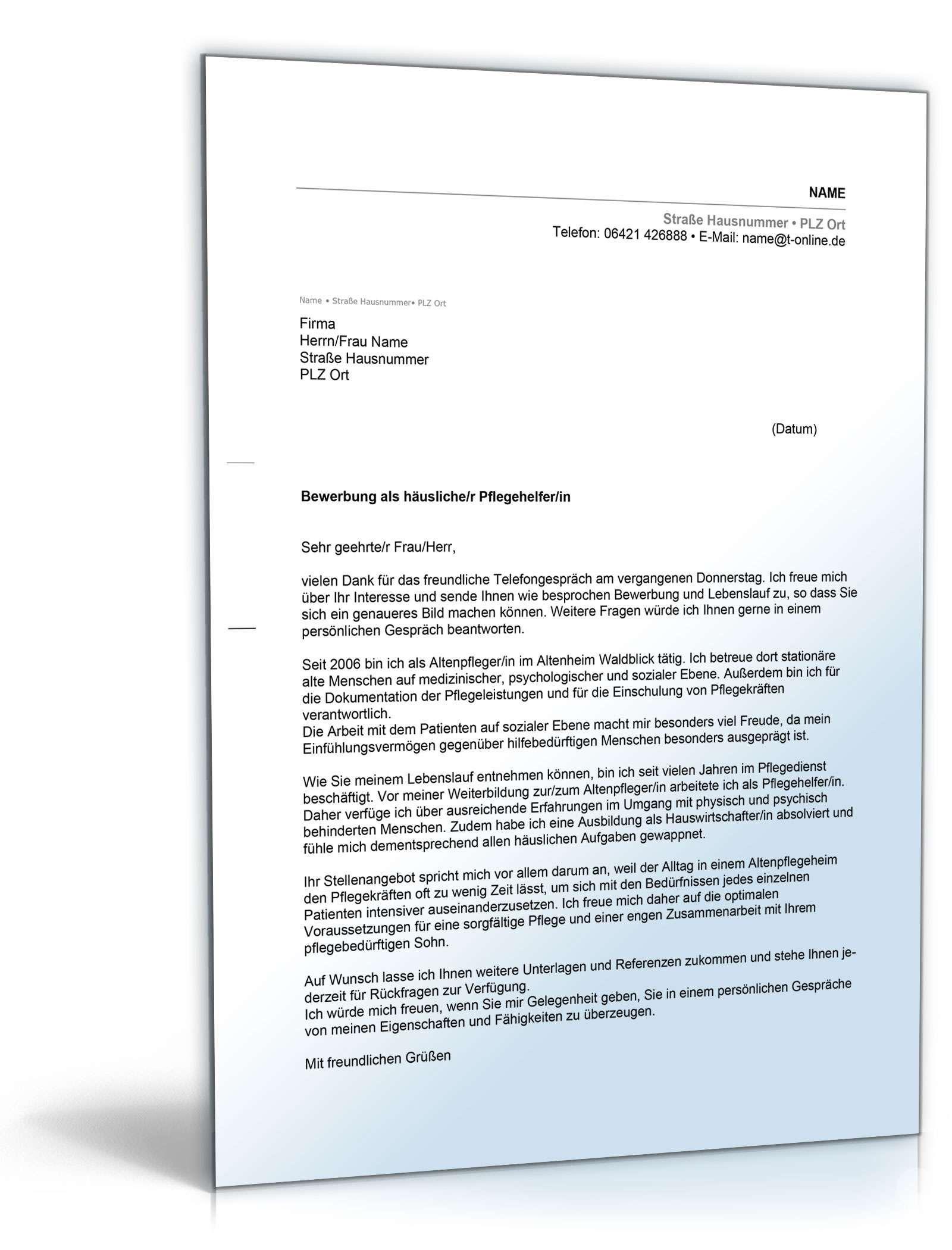 Anschreiben Bewerbung Pflegehelfer Muster Zum Download Bewerbung Anschreiben Muster Pflegehelfer Pflegehelf In 2020 Document Templates Templates Types Of Resumes