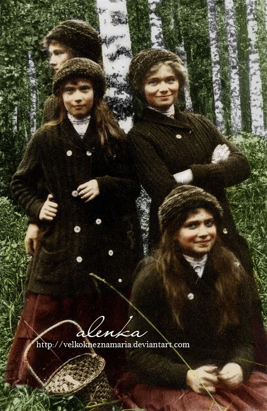 Nicholas II's four daughters mushroom hunting in Finland, 1912.