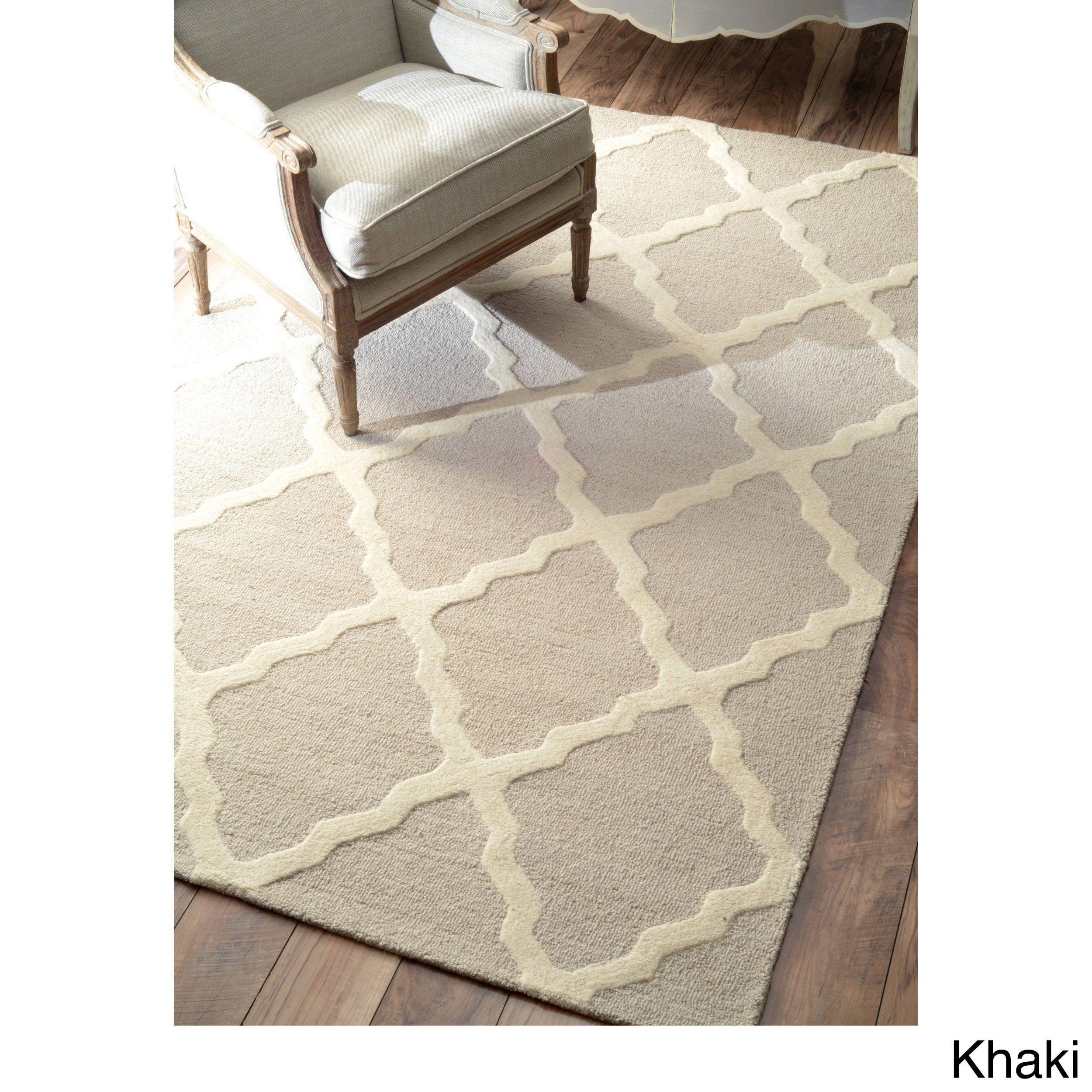 Nuloom hand hooked alexa moroccan trellis petit point wool rug 8 39 6 x 11 39 6 khaki green - Alfombras contemporaneas ...