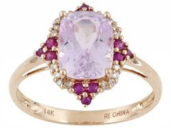 2.96ctw Cushion And Round Kunzite And Ruby With Diamond Accent 14k Rg Ring