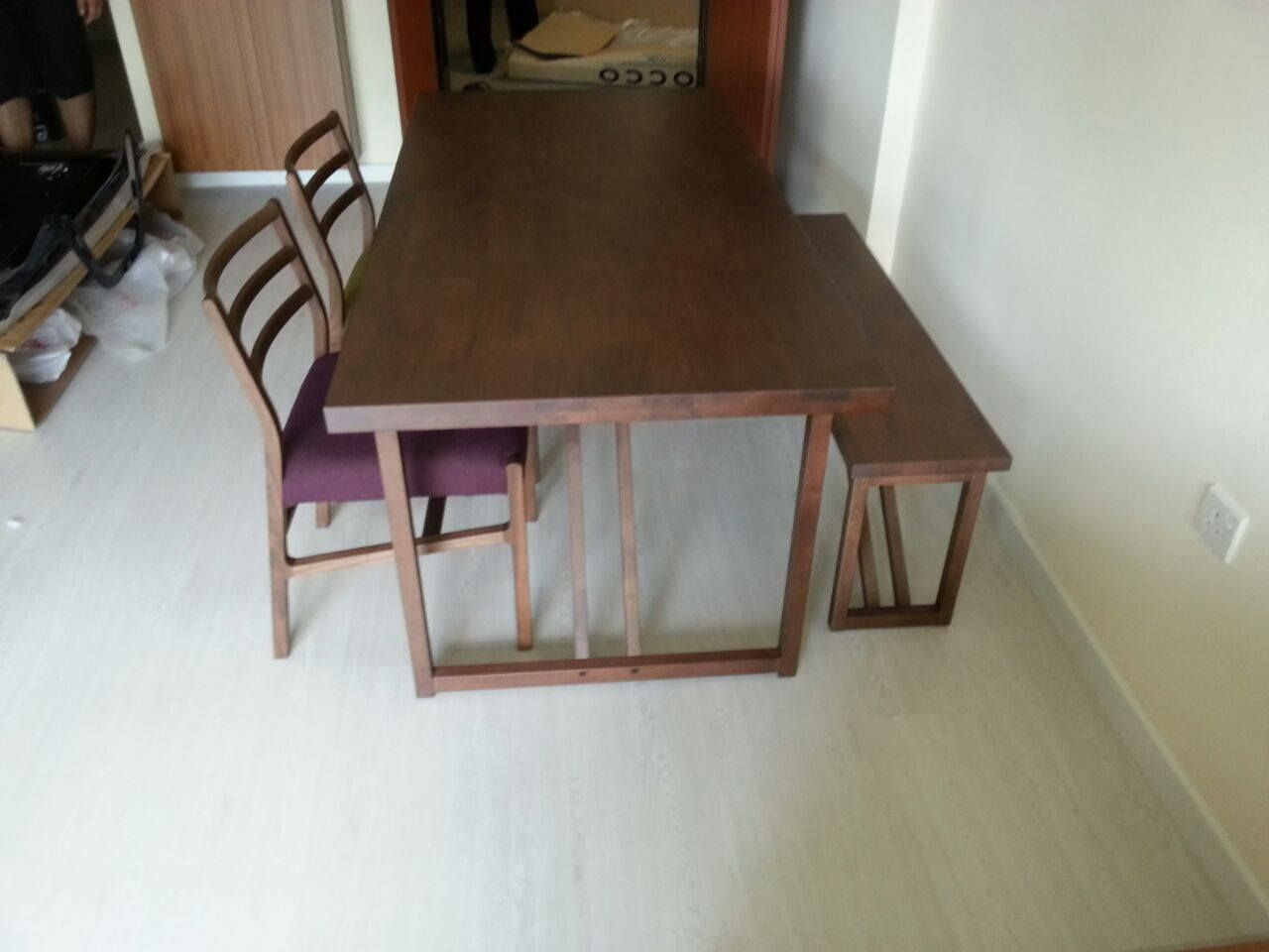 Soild wood dining table with bench and chairs