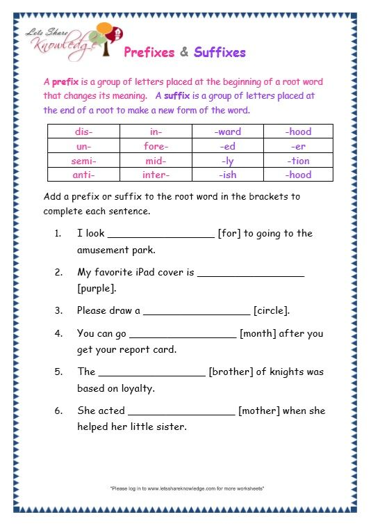Grade 3 Grammar Topic 21: Prefix and Suffix Worksheets | prefix y ...