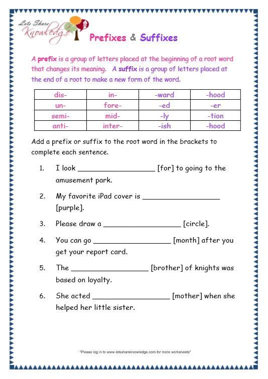 Grade 3 Grammar Topic 21: Prefix and Suffix Worksheets