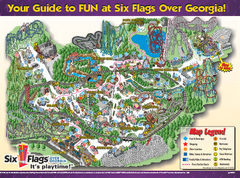 Vintage Six Flags Over Texas Theme Park Map Google Image Search