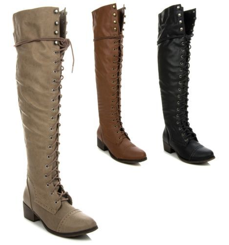 fdabc0b09692 New Women's Over The Knee Thigh High Lace Up Military Combat Boots Alabama  12 | eBay