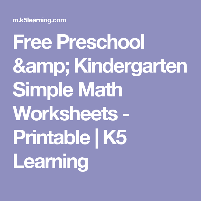 Free Preschool Kindergarten Simple Math Worksheets Printable
