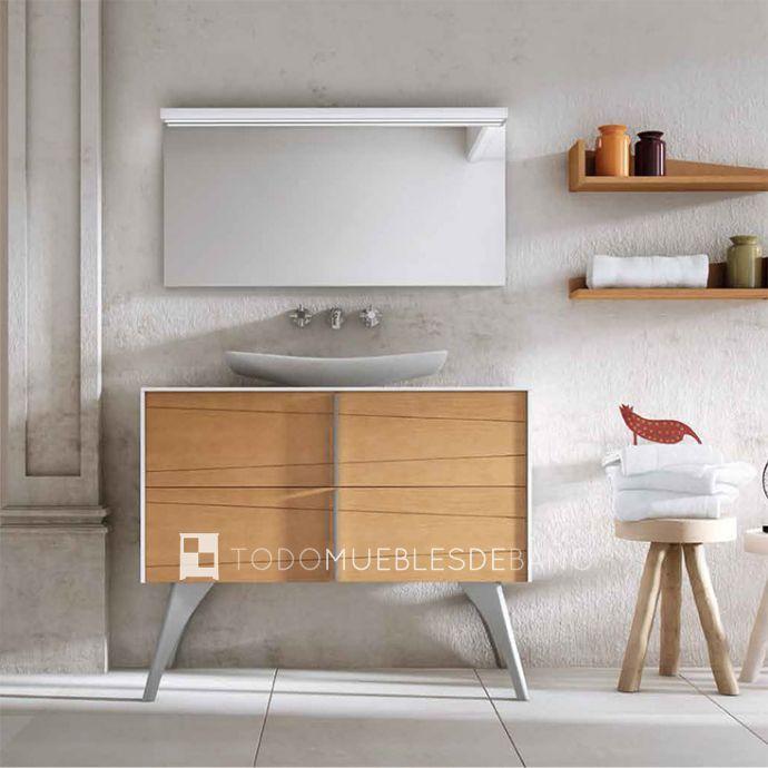 Mueble lavabo 100 fresno natural costados blanco mate y tiradores cromo mate juego cuatro - Muebles de bano blanco mate ...