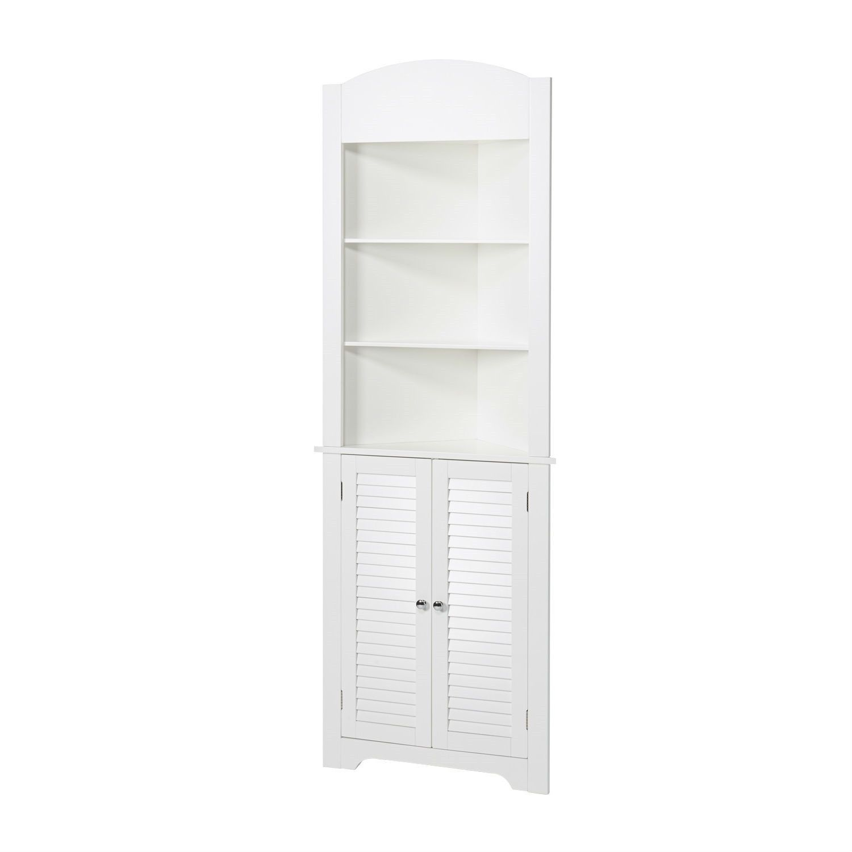 Bathroom Linen Tower Corner Storage Cabinet with 3 Open Shelves in ...