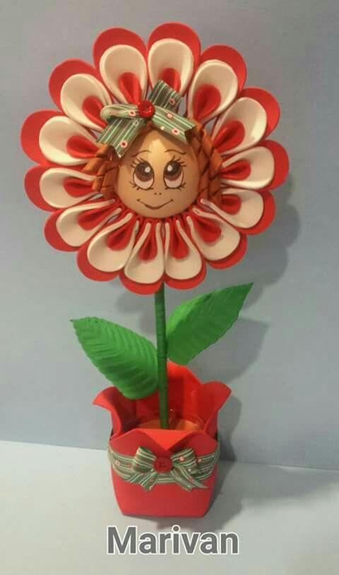 flor con carita | goma eva | pinterest | flor, goma eva y gomitas