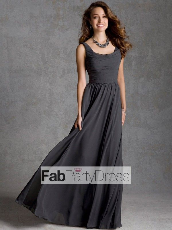 A-line Square  Ruffles  Sleeveless Floor-length Chiffon Bridesmaid Dresses