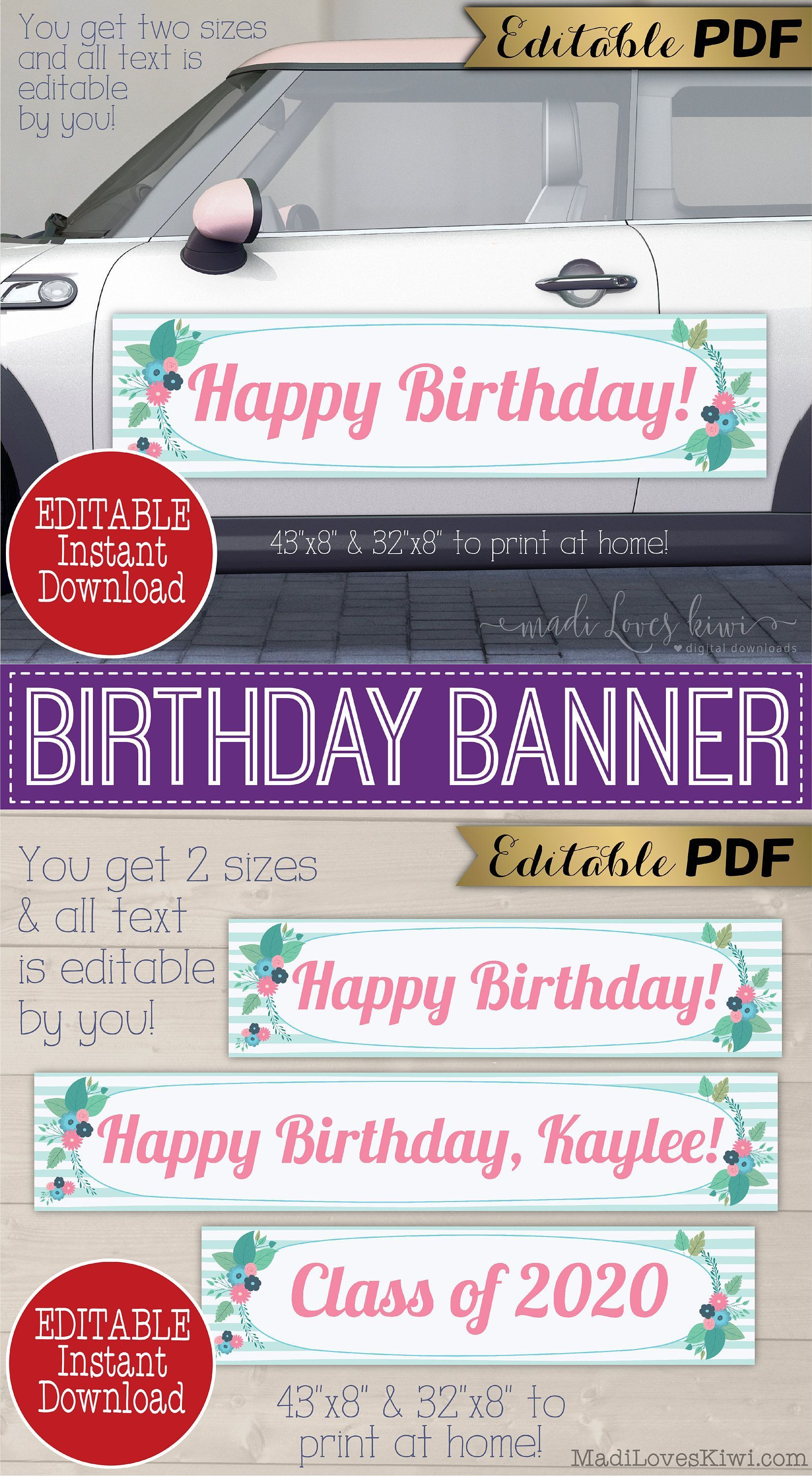 Editable birthday decorations for car printable drive by