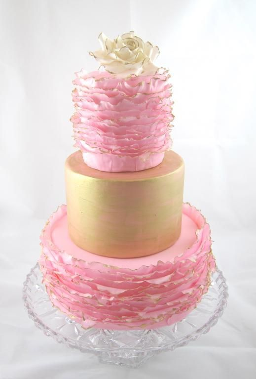Gold And Pink Birthday Cake Another Cake Not Mine From The Maggie Austin