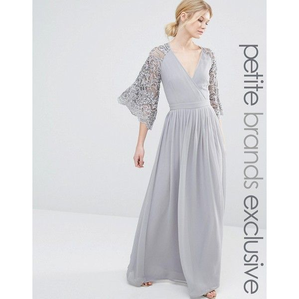 Maya Petite Wrap Front Pleated Maxi Dress With Lace Sleeve (£85 ...