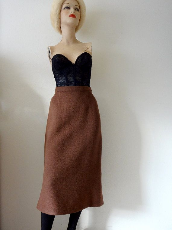 7182e5223533 1950s wool pencil skirt   milk chocolate brown straight skirt   vintage  fall   winter fashion