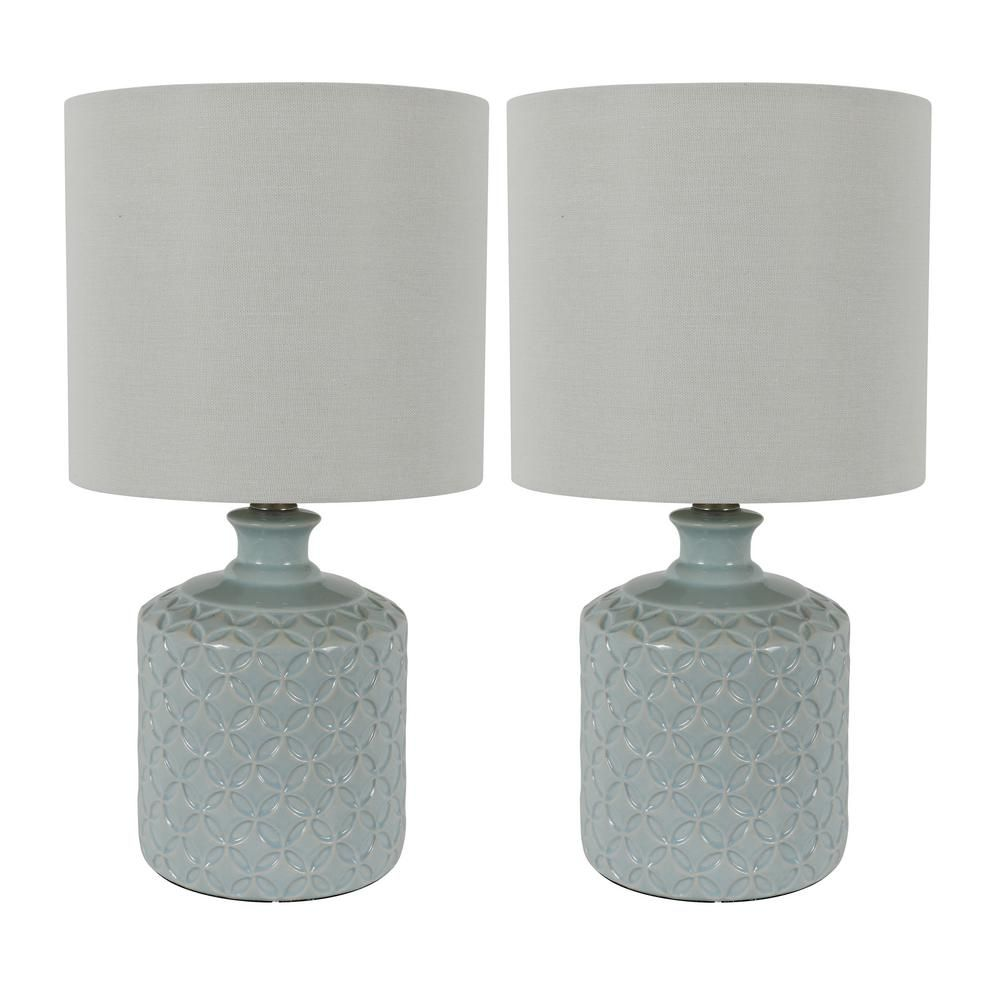 Decor Therapy Della 17 In Soft Blue Ceramic Led Table Lamps With Shade Set Of 2 Lamp Sets Table Lamp Ceramic Table Lamps