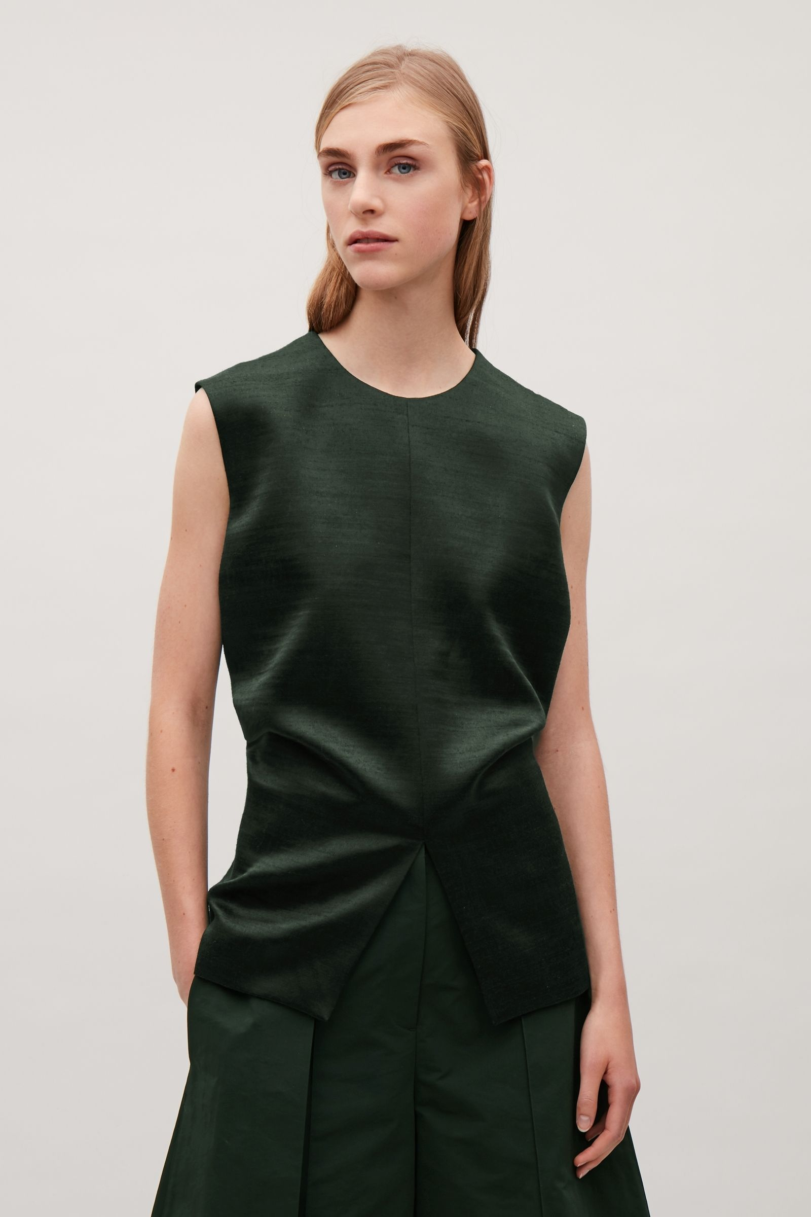 796a90a4f2830 COS image 6 of Sleeveless side-drape top in Dark green | Blouses ...