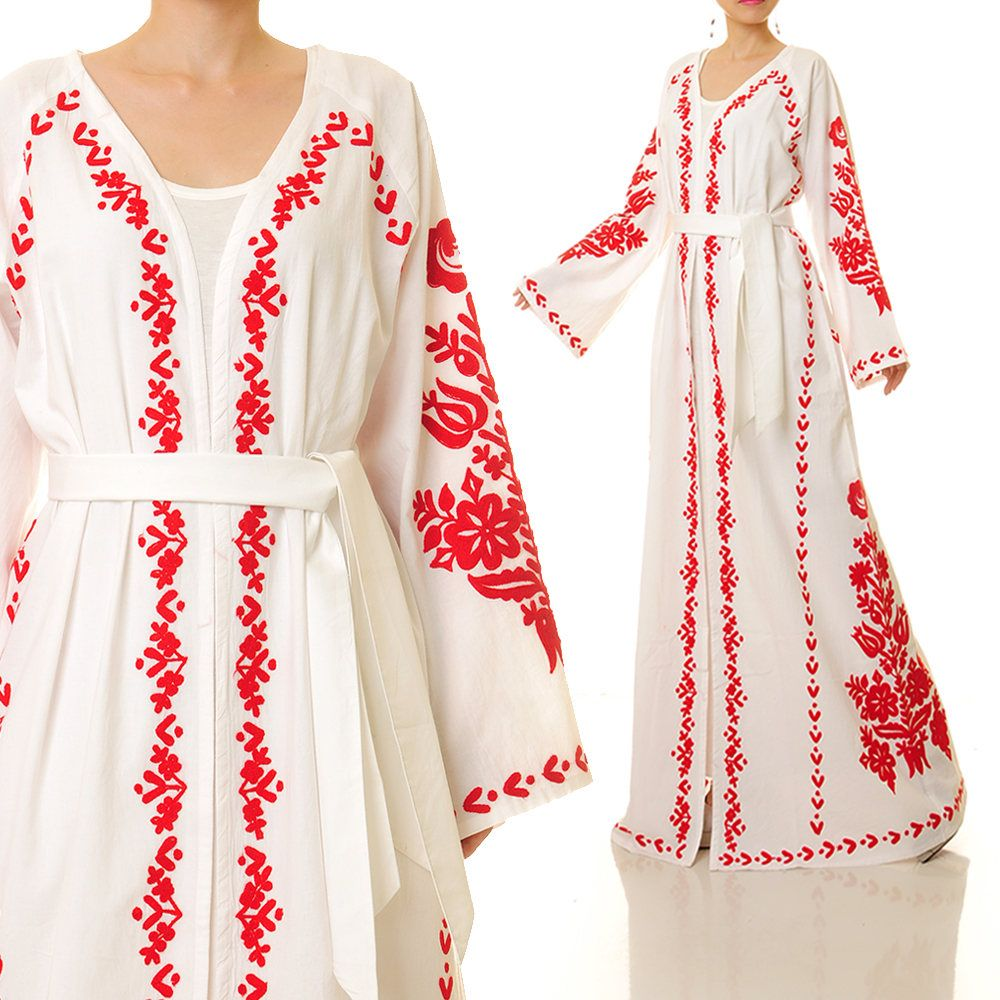 Embroidered Kimono Robe | Embroidered Cardigan | Mexican Dress Embroidered  Boho Wedding Dress | White Mexican