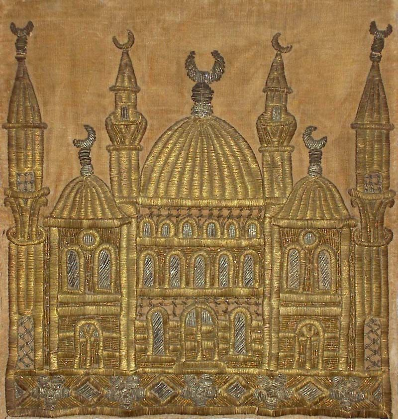 Antique Turkish Textile, Embroidery with gold thread  on Velvet. Design of a Mosque. Ottoman Dynasty 1453-1922A.D.