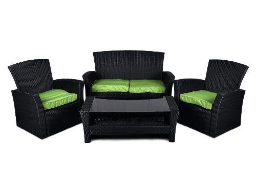 Rattan Set 4tlg mit Glastisch grün Garnitur Gartenmöbel Lounge