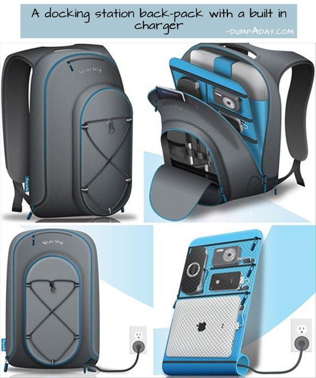 Genius Ideas- docking station back pack. the tech geek in me jus had a