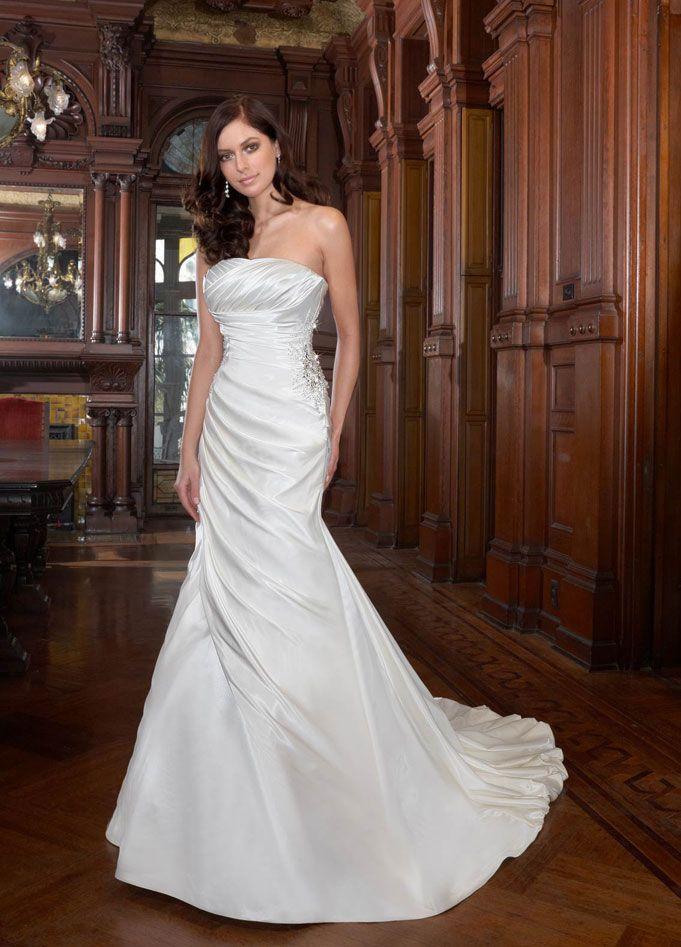 Charming strapless trumpet / mermaid chapel train bridal gowns ...