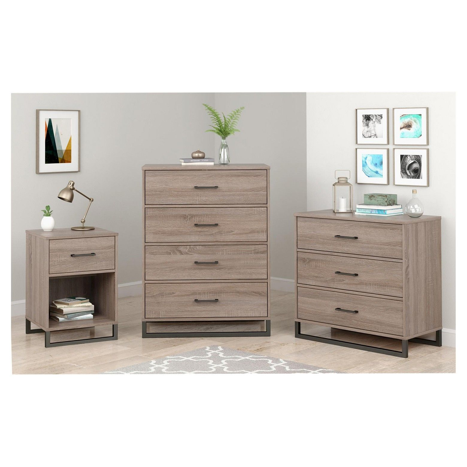 Mixed Material Nightstand Gray Room Essentials™ Brown
