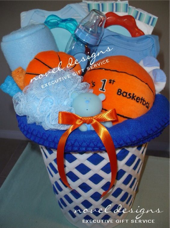 Custom Basketball Baby Gift Basket