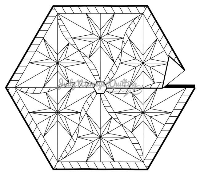 Twister Star Tree Skirt Line Drawing, Quiltworx.com, Made