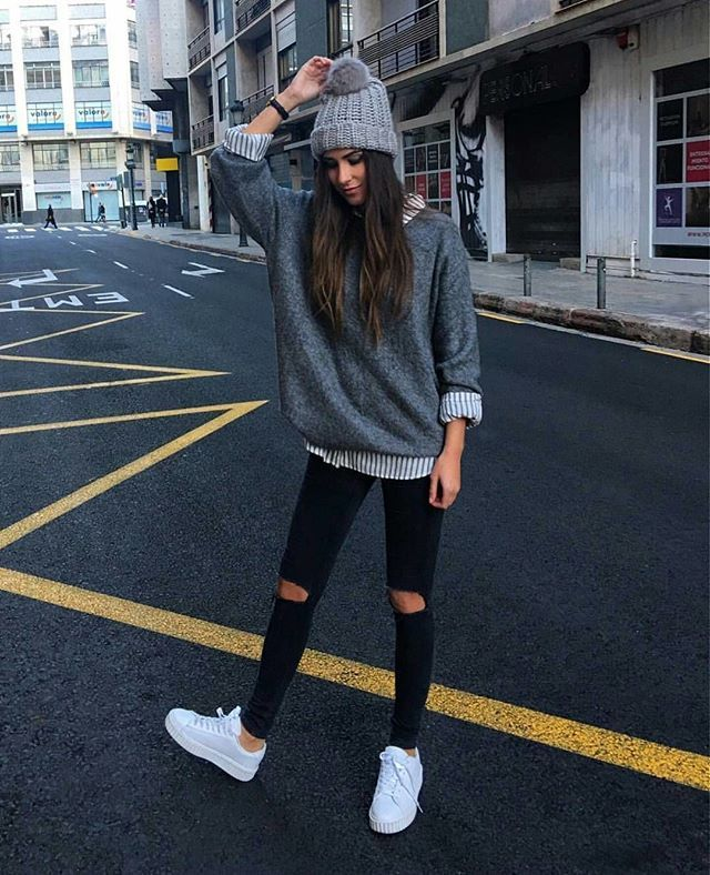 I like the layering in this outfit and different toned greys. The fit of  the shirts with the skinny black jeans is nice. 7ab5973a843