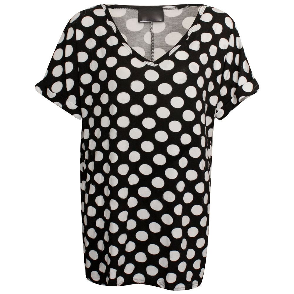 Printed Loose Baggy Turn Up Short Sleeve Tunic T Shirt Womens V Neck Top T Shirt
