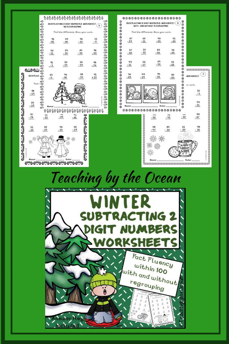 Subtracting 2 Digit Numbers Worksheets – Winter Themed | ***Sweet ...