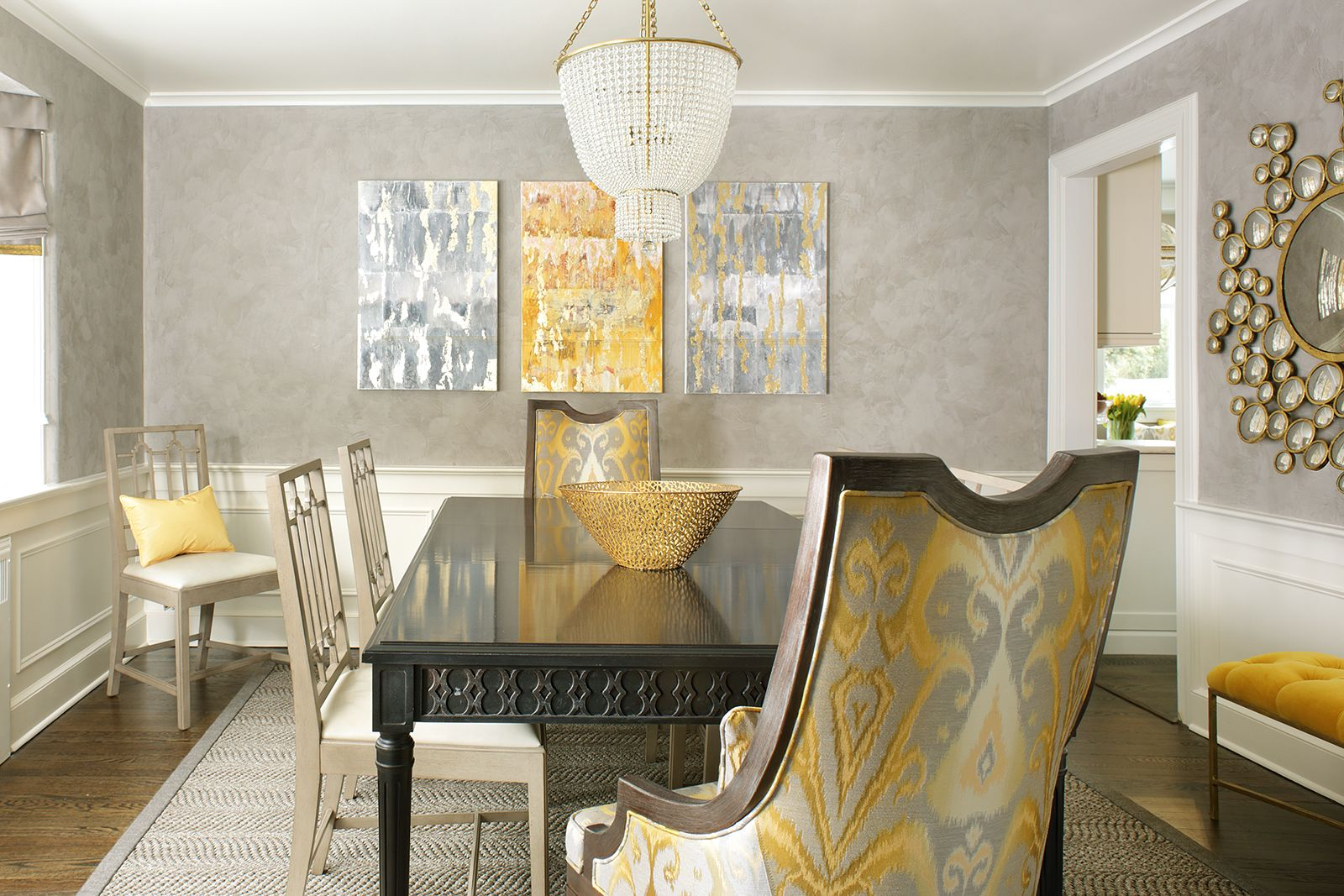 Summit Nj Valerie Grant Interiors Gray And Yellow Dining Room With A Beaded Chandelier O Blue Chairs Living Room Side Chair Dining Room Yellow Dining Room