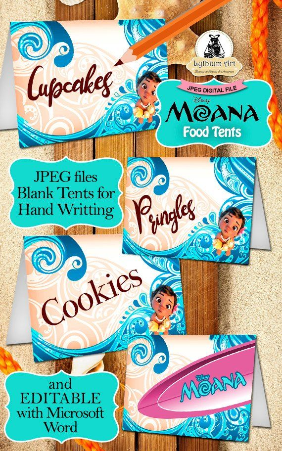 MOANA LABELS Moana Decor Kit Labels Toppers Food Tents Birthday Party