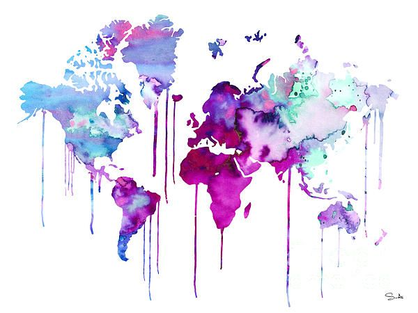 Blue Purple Watercolor Map Watercolor Map World Map Art Map Art