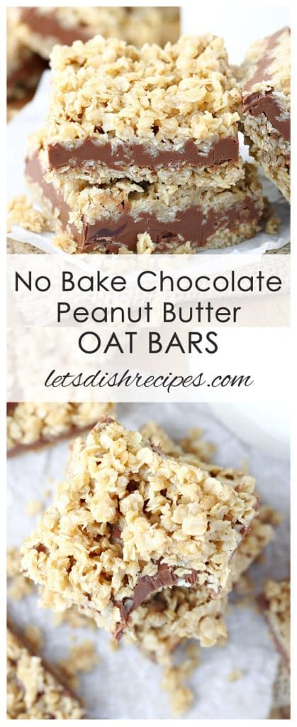 No Bake Chocolate Peanut Butter Oat Bars Recipe   Classic no-bake cookie ingredients like chocolate, oats and peanut butter come together in these layered, no-bake cookie bars.