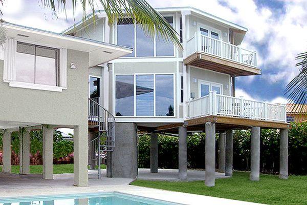 Florida keys two story stilt home topsider build over for Stilt house foundation