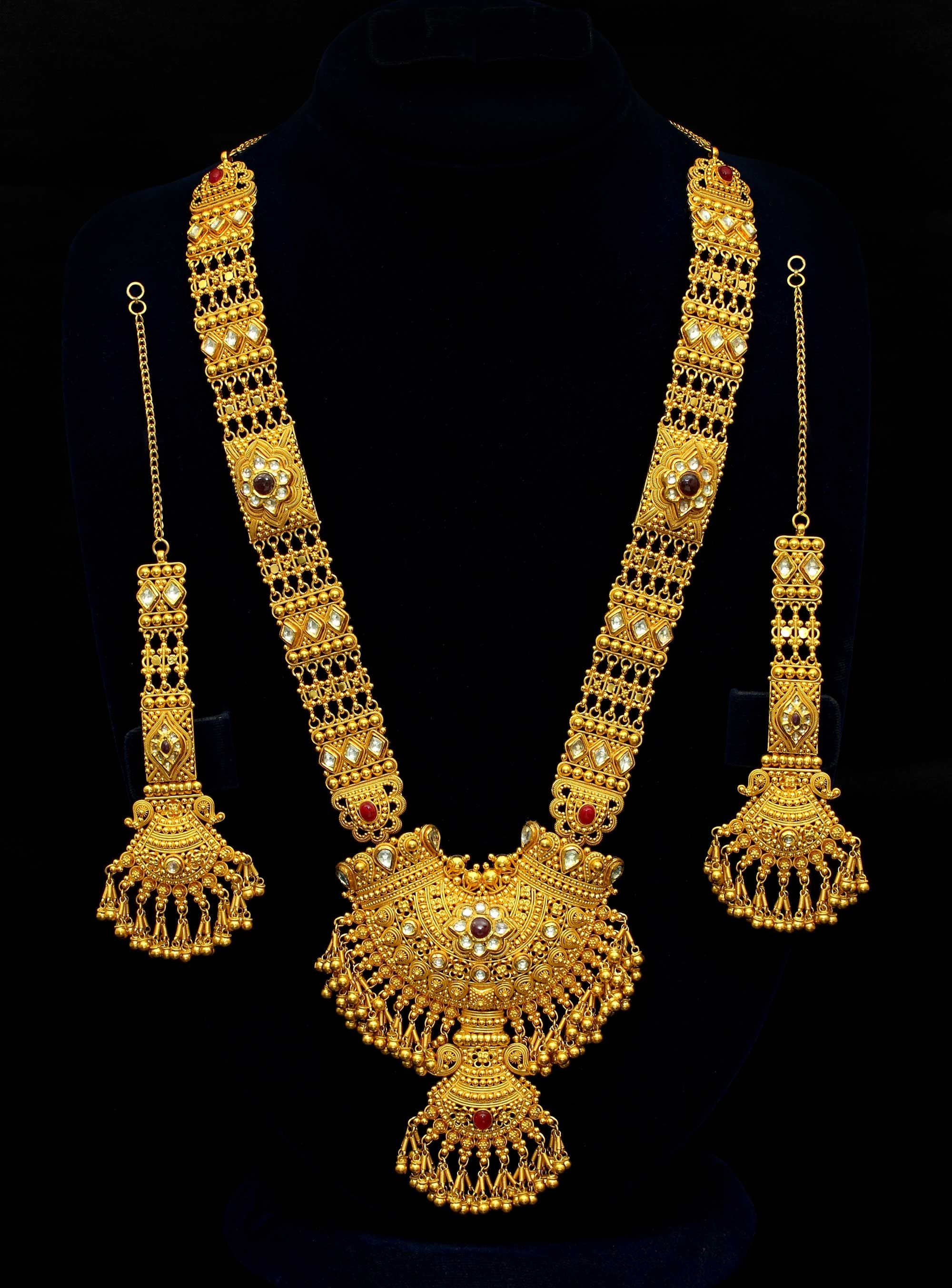 Gold long necklace design with price - Necklaces