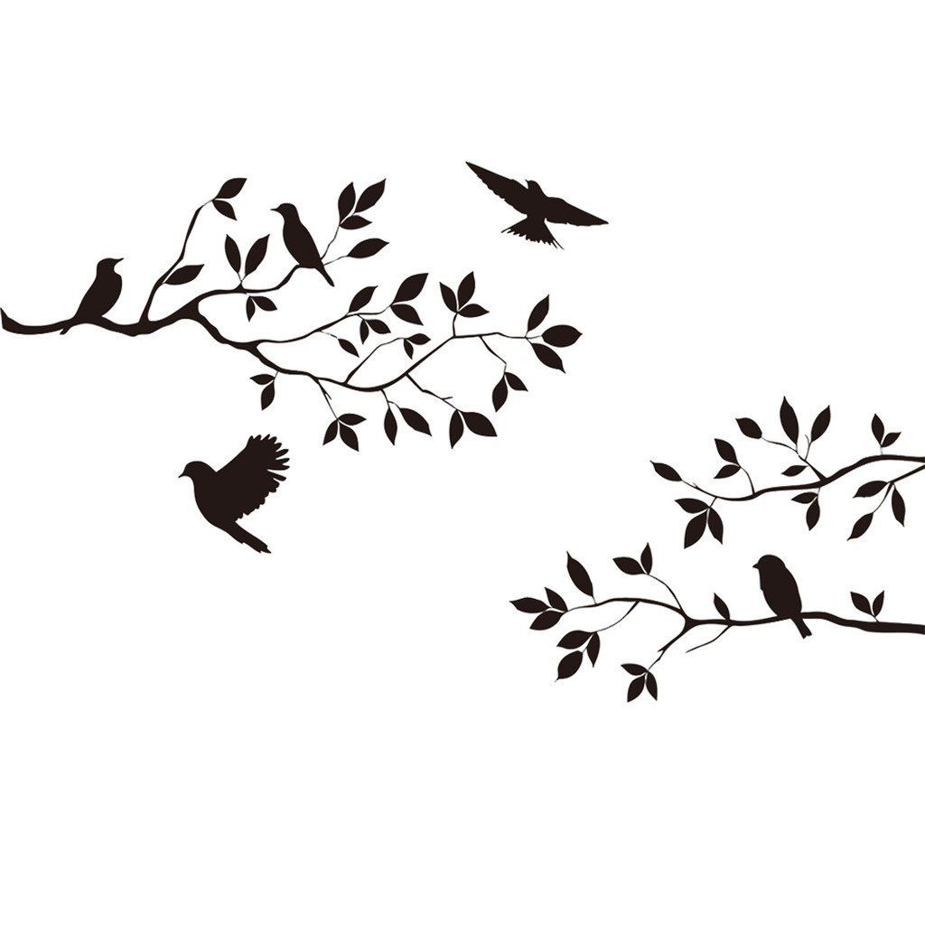 Black Tree Branch With Flying Birds Wall Decor