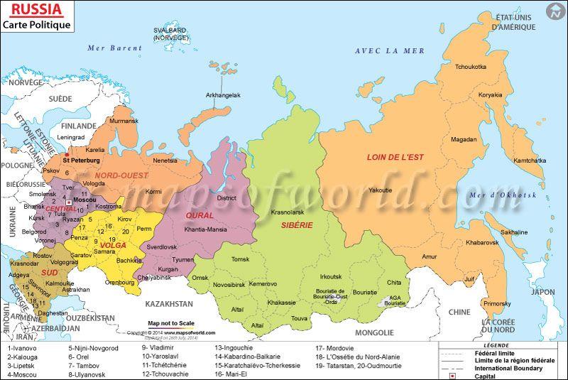 Carte de la Russie Map of Russia Carte du Monde Pinterest