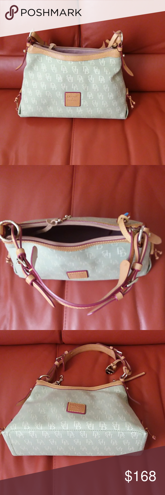 Signature Dooney Bourke Green Cream Authentic Limited Edition Discontinued No More In S Shoulder Bag