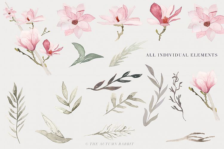 Watercolor Magnolia Floral Clipart Example Image 4 Watercolor Flowers Clip Art Leaf Images