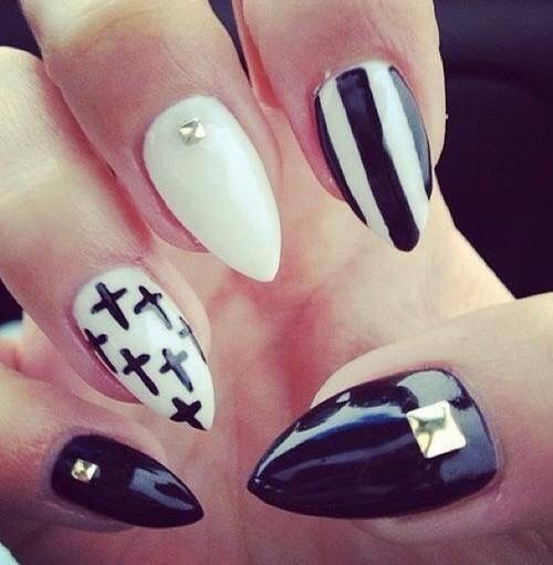 White And Black Stiletto With Crosses Strips And Jewels Nail Art