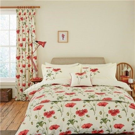 Sanderson Persian Poppy Red Readymade Curtains Bed Linens Luxury Cheap Bed Linen Bedroom Duvet Cover