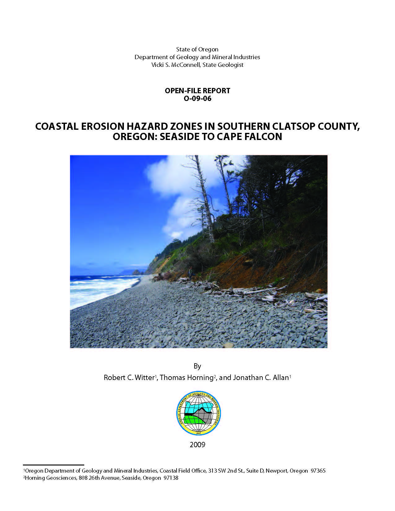 Coastal erosion hazard zones in southern clatsop county