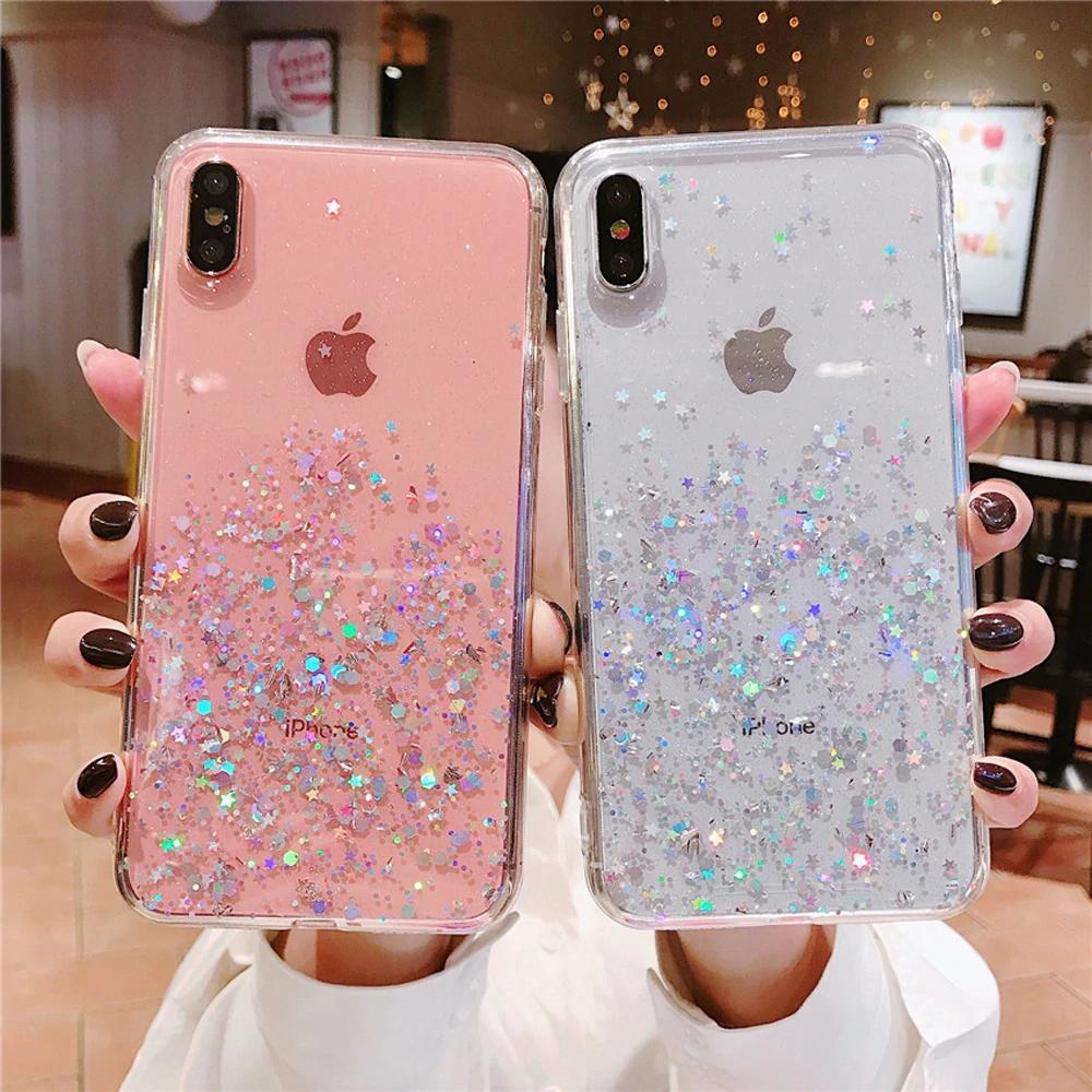 Glitter Stars Transparent Case For Iphone X Xr Xs Max 10 8 7 Plus 6 6s I Phonecases Com Capas Para Iphone 6s Capas Para Telefone Celulares Iphone