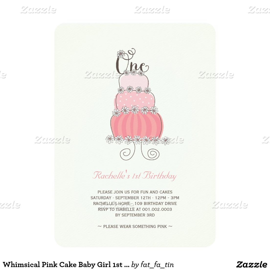 Whimsical Pink Cake Baby Girl 1st Birthday Party Card | Birthday ...