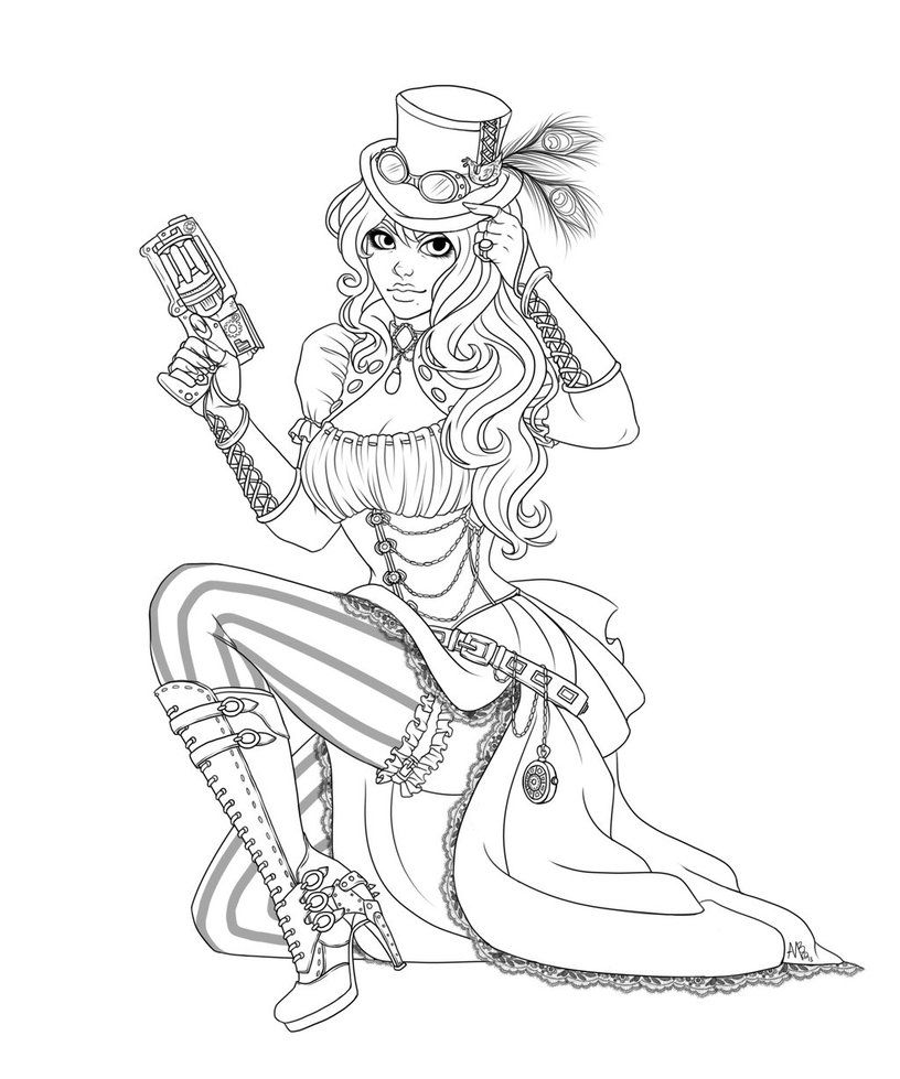 Coloring pages up - Pin Up Coloring Pages Steampunk Girl Commission From Harpyqueen By Vmpwraith On Deviantart